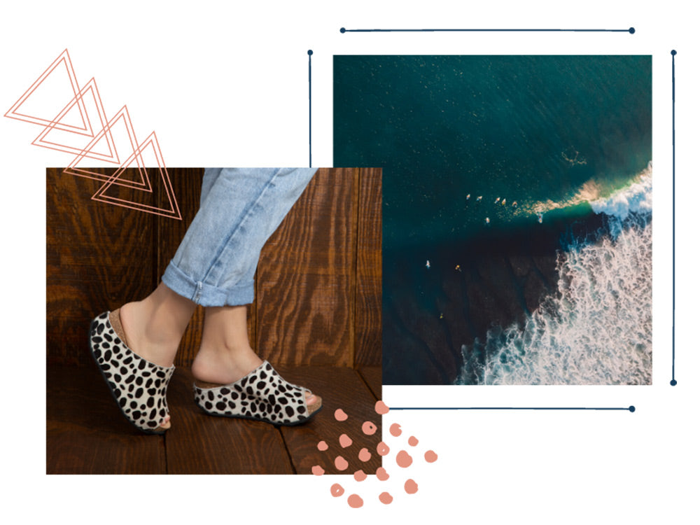 woman in cropped jeans wearing Cecilia mules in Dalmation