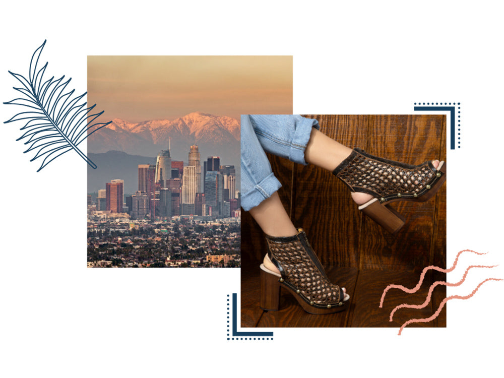 Los Angeles skyline and image of woman in cropped jeans wearing Vivian boots in Espresso
