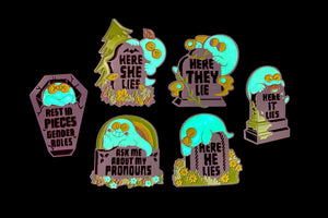 Rest in Pieces Gender Roles - Enamel Pin [GLOW]