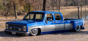 Justin Berry and his full custom 1985 Chevy Crew Cab C30 Dually