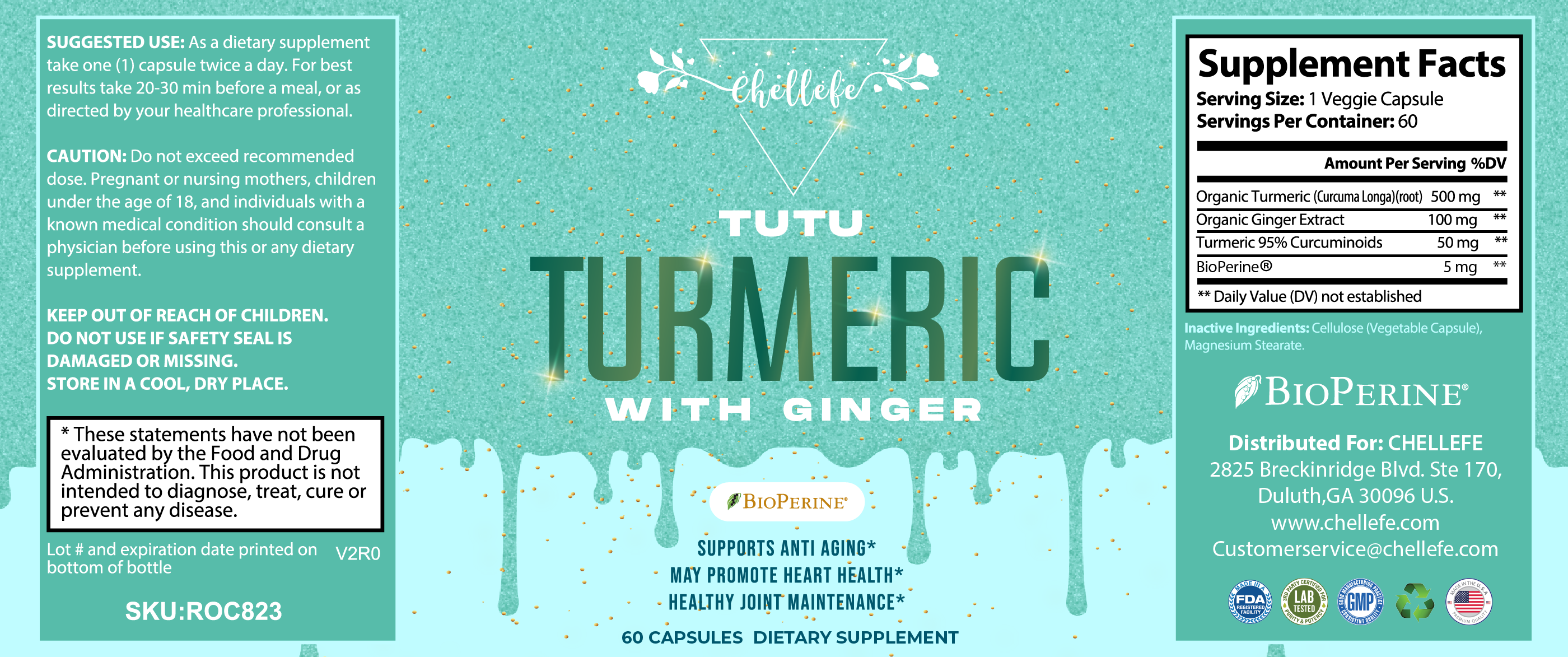 Chellefe Tutu Turmeric With Ginger Anti Aging Dietary Supplements