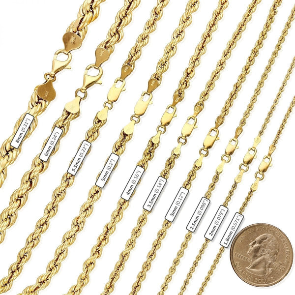14K 5mm Solid Rope Chain