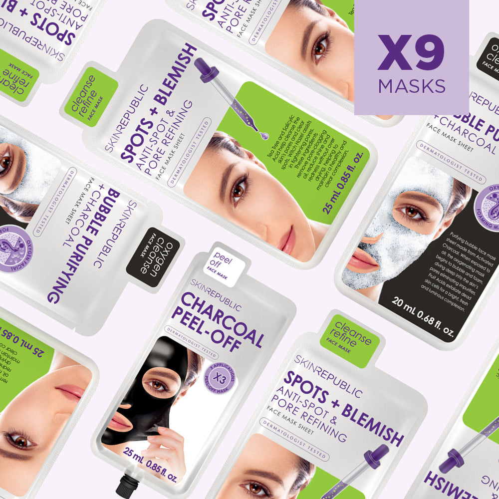 Clean Skin 1 Month Masking Kit (9 Mask Bundle)