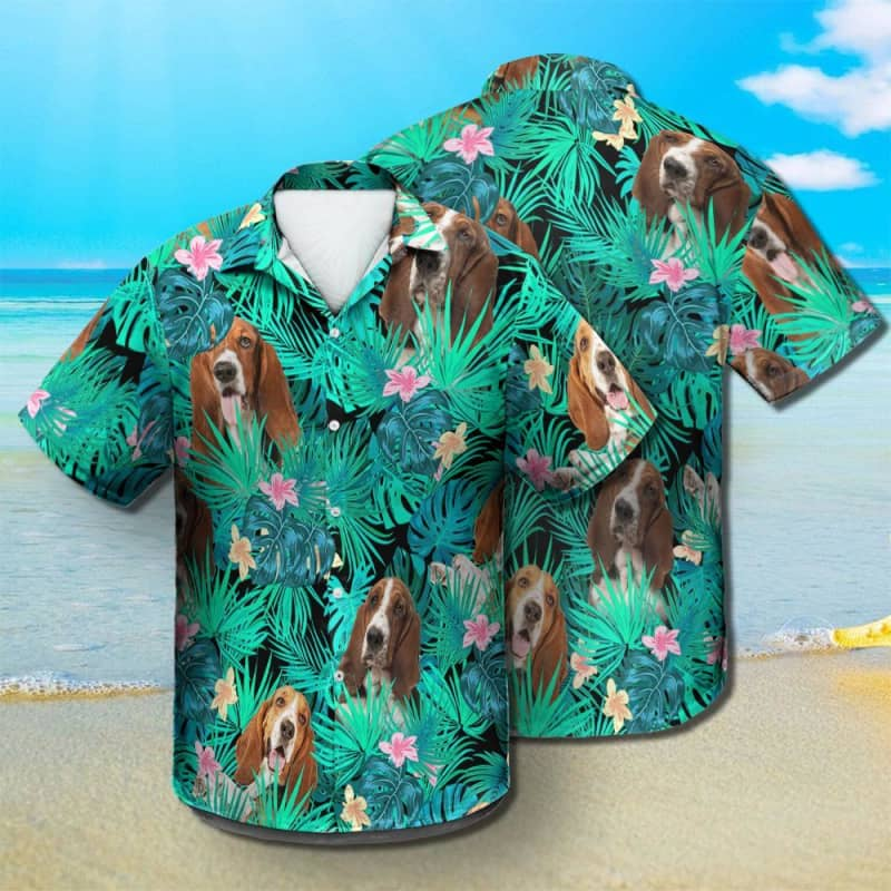 Basset Hound - Summer Leaves - Hawaiian Shirt