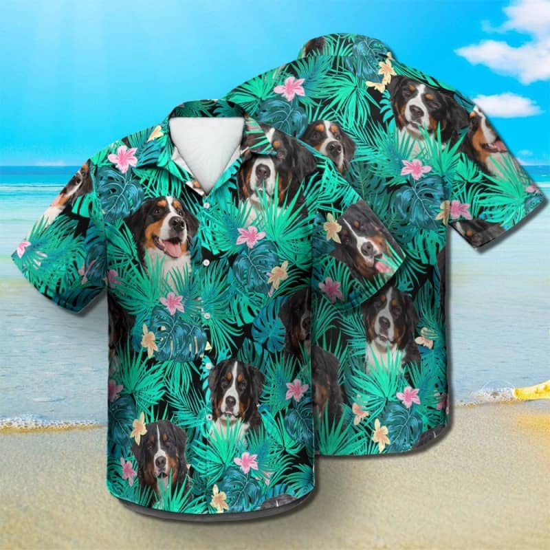 Bernese Mountain Dog - Summer Leaves - Hawaiian Shirt