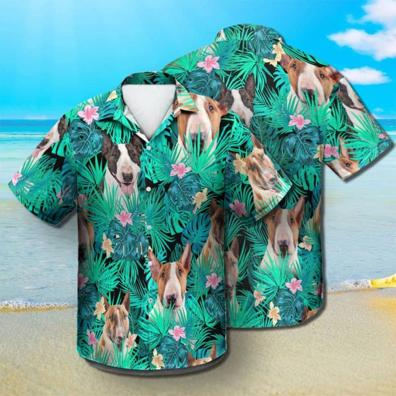 Bull Terrier - Summer Leaves - Hawaiian Shirt