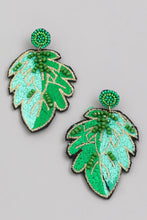 Load image into Gallery viewer, Green Beaded Leaf Earrings