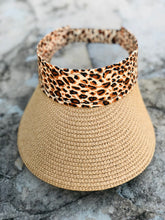 Load image into Gallery viewer, Leopard Raffia Visor