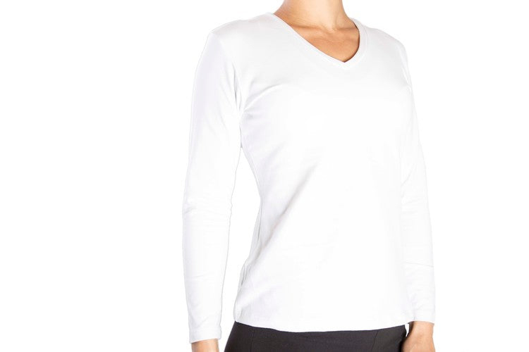 One Step Ahead Suede Supplex Classic Long Sleeve V-Neck
