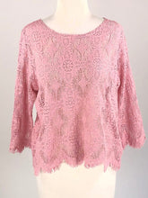 Load image into Gallery viewer, Cut Loose Allover Lace 3/4 Slv Boxy Top