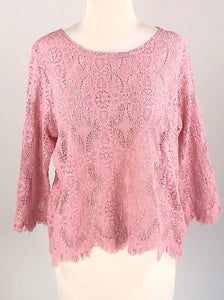 Cut Loose Allover Lace 3/4 Slv Boxy Top