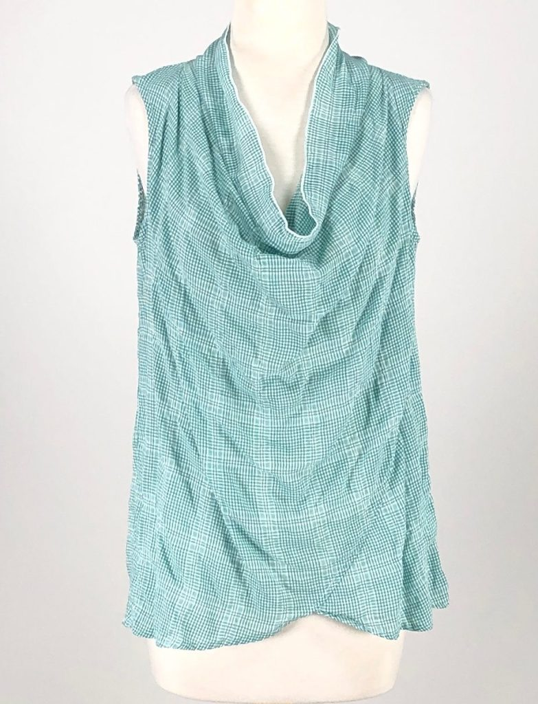 Cut Loose Teal Check Shirting Faux Wrap Cowl Top