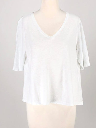 Cut Loose Light Weight Cotton Jersey V-Neck Elbow Sleeve Top
