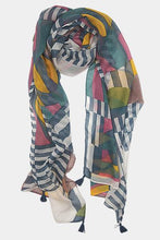 Load image into Gallery viewer, Vivante Stripes Colors Patches Tassel Scarf
