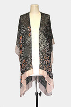 Load image into Gallery viewer, Vivante Flower with Solid Frames Kimono