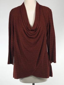 Cut Loose Striped Crimped Fabric 3/4 Slv Cowl Neck Top (XL) - On Sale!