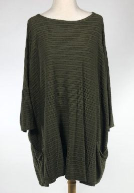 Cut Loose Striped Crimped Fabric Osize Pullover