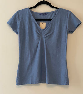 Cut Loose Linen Cotton Jersey Short Sleeve Tuck Front Top (XS) - On Sale!