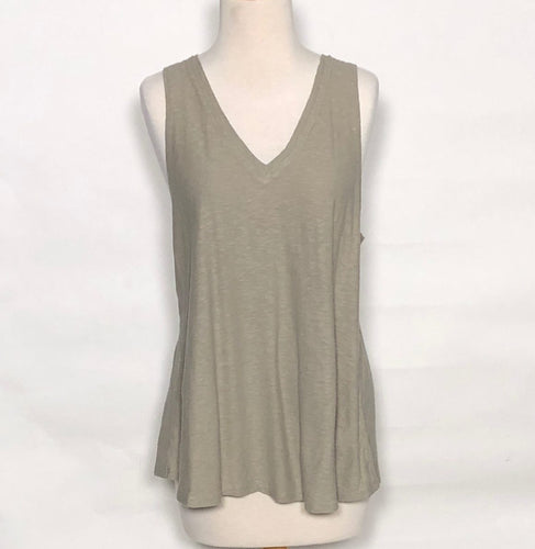 Cut Loose Light Weight Cotton Jersey Double V-Neck Tank