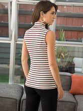 Load image into Gallery viewer, Blue Canoe Stripe Sleeveless Mock