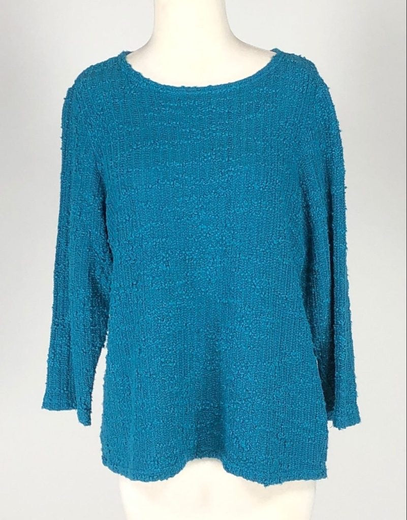 Cut Loose Texture Sweater Knit 3/4 Sleeve Boatneck Top