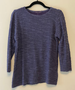 Cut Loose Texture Sweater Knit 3/4 Sleeve Boatneck Top (XS) - On Sale!