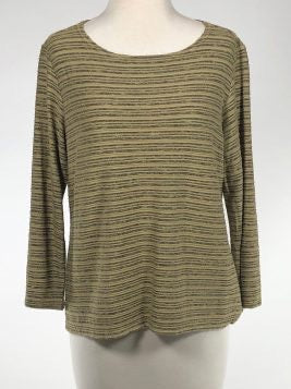 Cut Loose Striped Crimped Fabric 3/4 Slv Boatneck Top