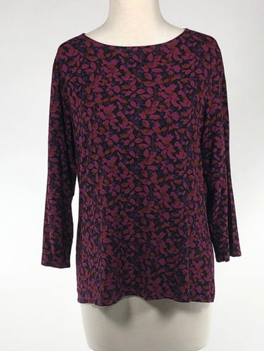 Cut Loose Fall Leaf Jersey 3/4 Sleeve Boatneck Top