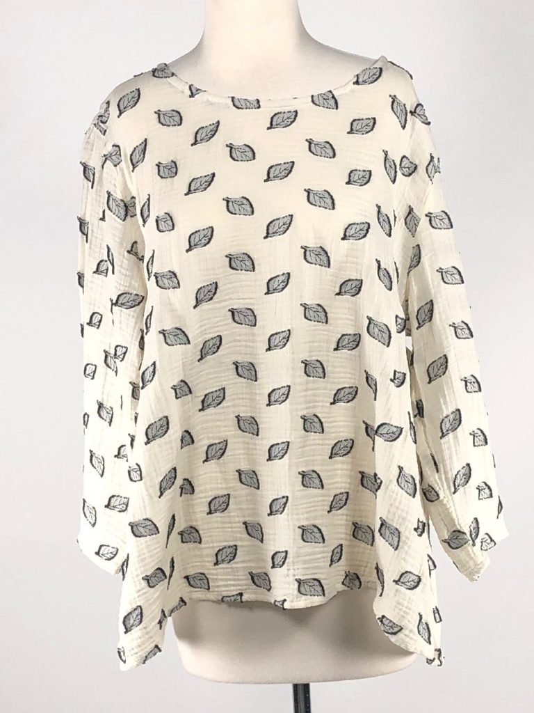 Cut Loose Leaf Jacquard 3/4 Sleeve Aline Top