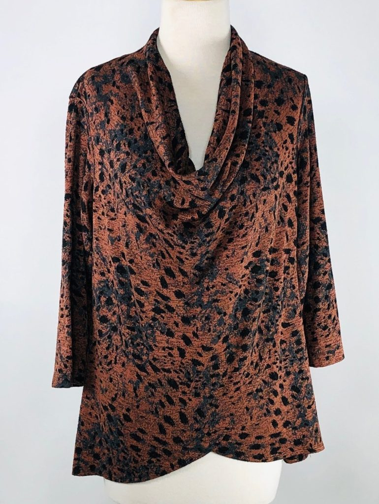 Cut Loose Graphic Animal Print 3/4 Sleeve Cowl Neck Top
