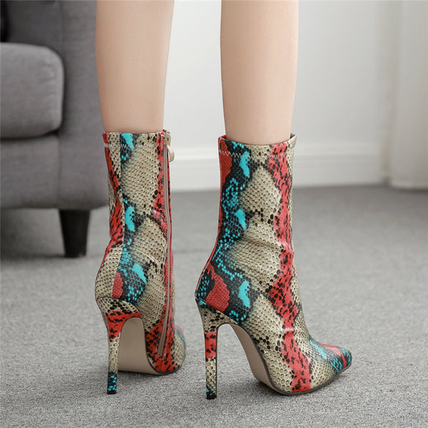 Serpentine Zip Ankle Boots
