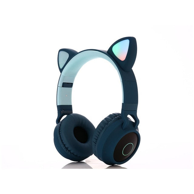 Cute (Very Cute) Cat Bluetooth 5.0 Headset Wireless Headphones LED Light Mobile Phones Girl Daughter Headset For PC