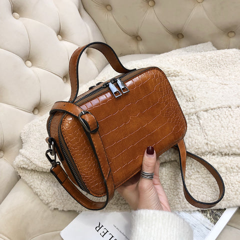 Pattern Leather Crossbody Purse