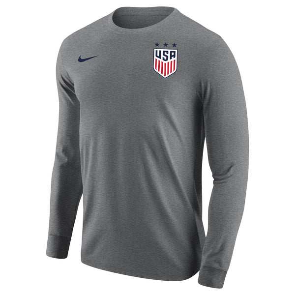 MEN'S USWNT NIKE 3-STAR CORE COTTON LONG SLEEVE TEE - GRAY