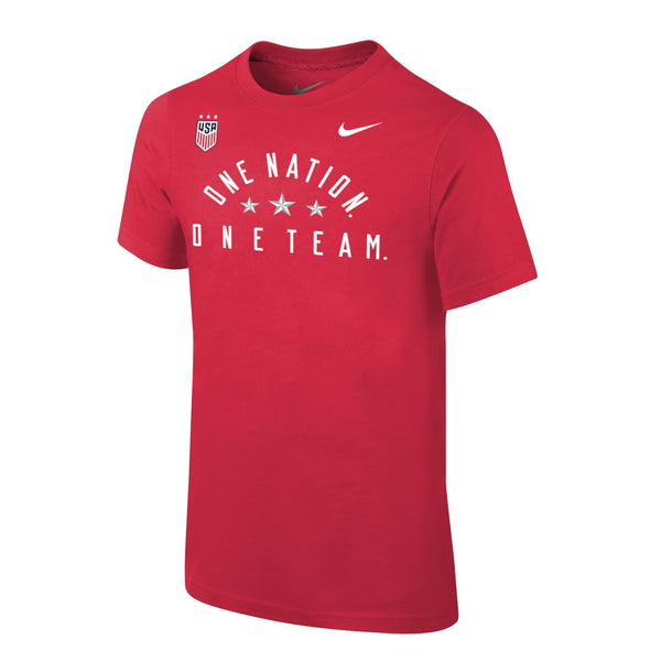 Youth Nike USWNT 3-Star One Nation Core Cotton Red Tee