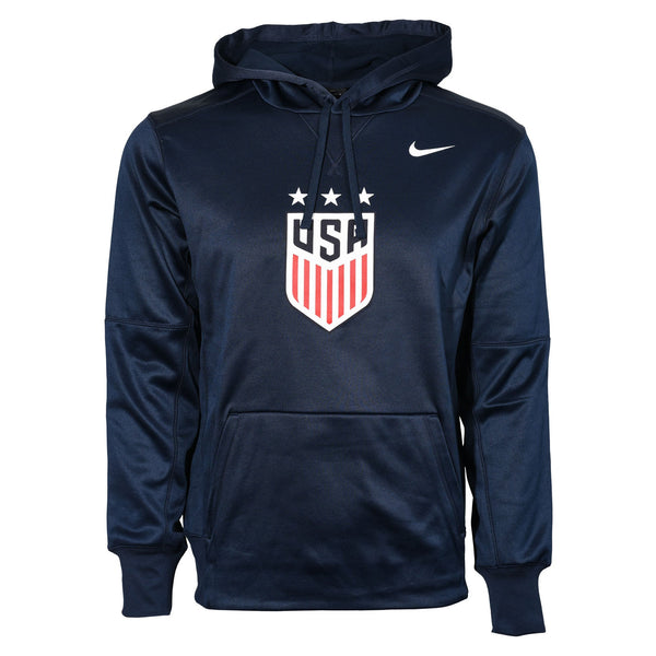 U.S. SOCCER MEN'S NIKE USWNT 3-STAR CREST THERMA POLY HOODY - NAVY