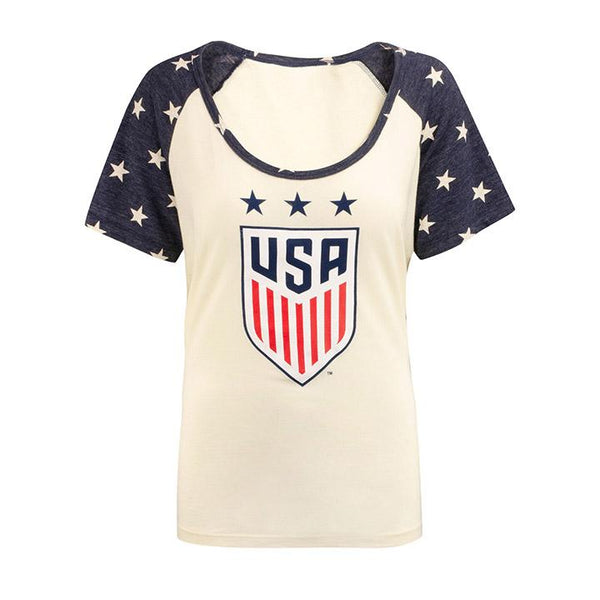 WOMEN'S 5TH & OCEAN JERSEY SCOOP NECK STAR TEE