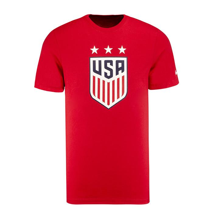 Men's Nike USWNT 3-Star Crest Red Tee