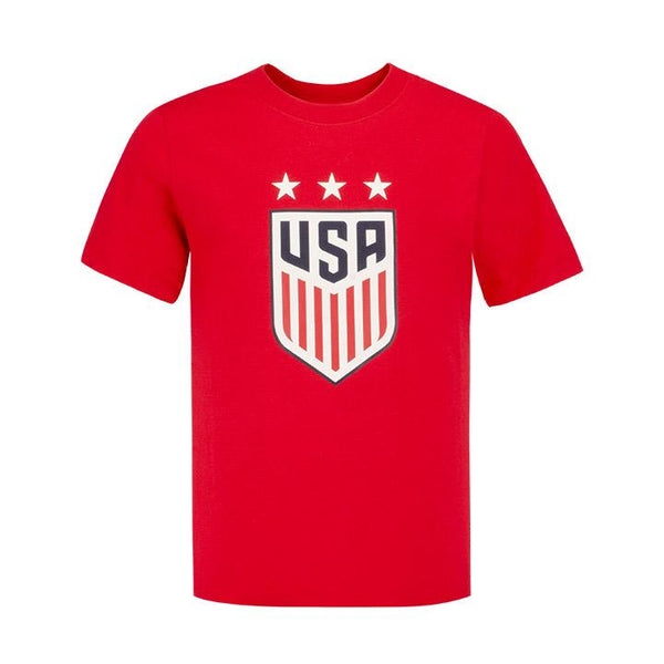 Youth Nike USWNT 3-Star Crest Red Tee