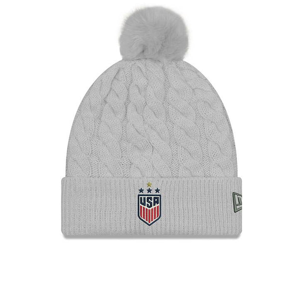 NEW ERA WNT 4STAR GREY POM KNIT