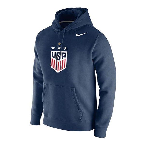 MEN'S NIKE WNT 4-STAR CLUB FLEECE HOODY - NAVY