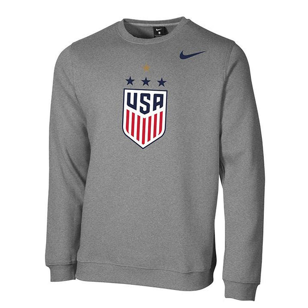 Men's Nike USWNT Club Fleece Grey Crew