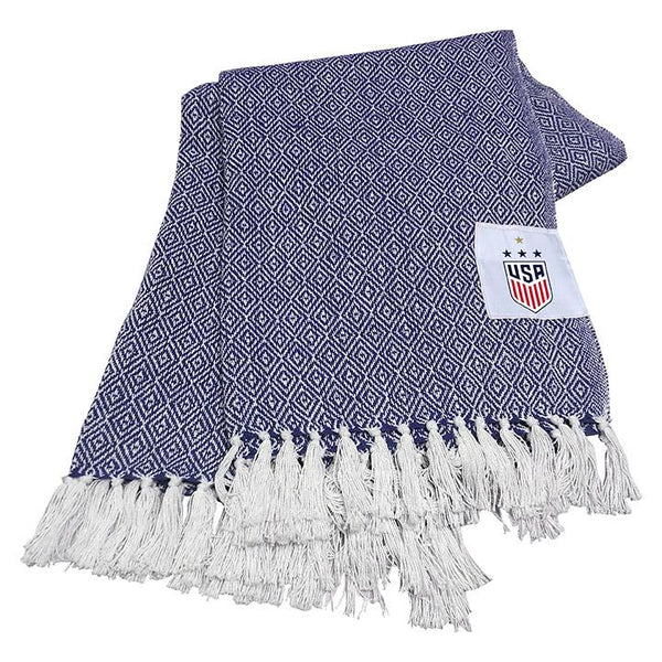 Logo Brands USWNT Blue Farmhouse Throw Blanket