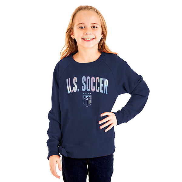 Youth Girls 5th & Ocean USWNT Fleece Crew w/ Side Tie