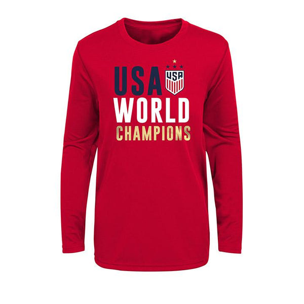 Youth Outerstuff USWNT Stacked L/S Red Tee