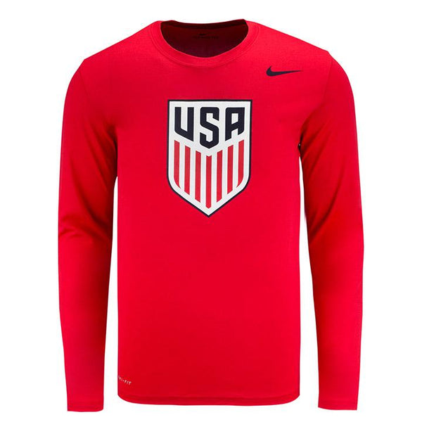 MEN'S NIKE USA CREST DRI-FIT LEGEND 2.0 LS TEE - RED