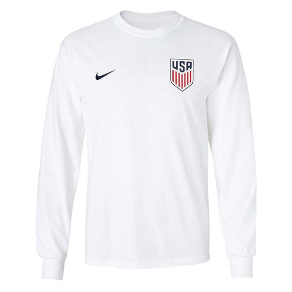 MEN'S NIKE USA CREST LEFT CHEST CORE COTTON LS TEE - WHITE