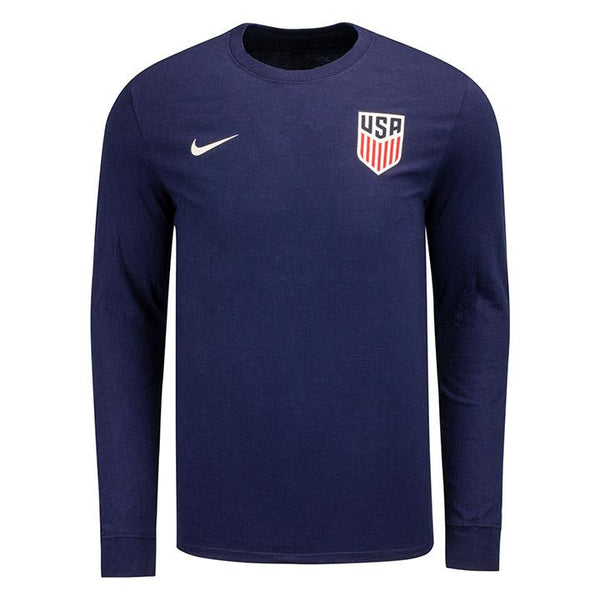 MEN'S NIKE USA CREST LEFT CHEST CORE COTTON LS TEE - NAVY