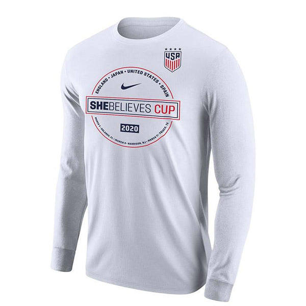 MEN'S NIKE WNT 2020 SBC CIRCLE COTTON LS TEE - WHITE
