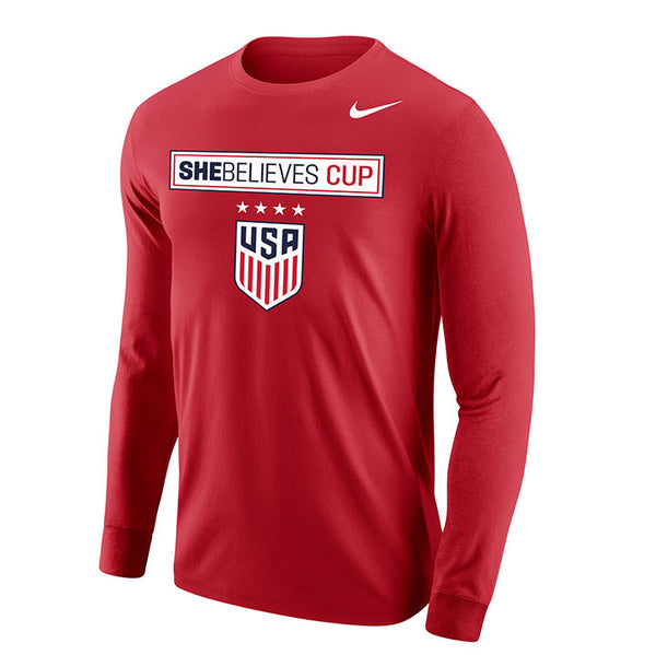 Men's Nike USWNT SBC Red L/S Tee